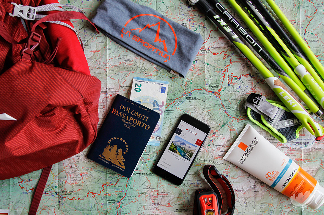 accessories for hiking val di fassa
